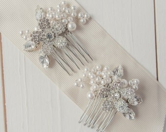 Pair of Pearl and Diamante Bridal Flower Combs