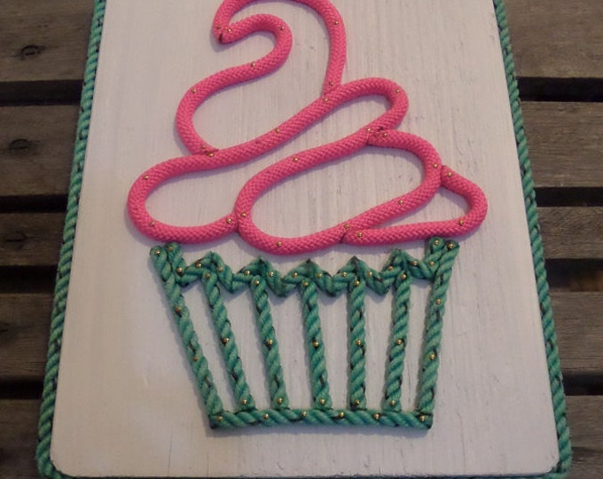 Cupcake Pink Frosting Green Cup Made with Rope Lining on Reclaimed Wood 12 x 14""