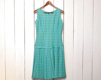 60s Gingham Check Scooter Dress Turquoise Green Vintage Drop Waist Dress Pleated Skirt Small S