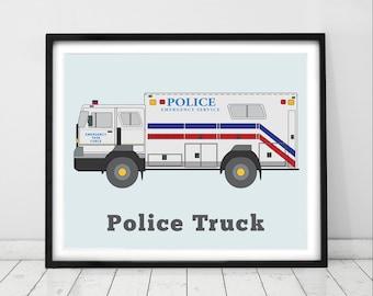 Police print, modern boys wall art, truck theme art, boys room decor, police trucks, toddlers room decor transportation art
