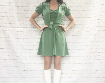 Vintage 60s Cropped Tie Top Mini Dress Set S Sage Green Mod Gogo Puff Sleeves Fit & Flare