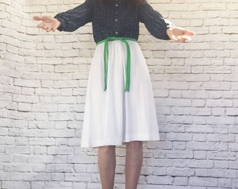 Vintage 70s Top-Attached Dress L XL Navy White Plaid Color Block Braided Belt Green Knee Length Long Sleeve