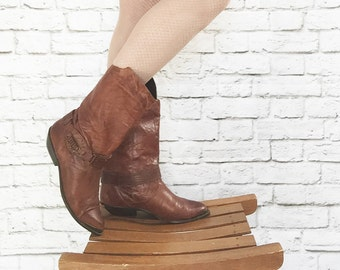Vintage 80s Leather Western Slouch Cowboy Boots 7 Brown Studded Ankle Straps