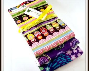 Baby Girl Burp Cloth Set - Nesting Dolls (Matryoshka), Modern Pattern