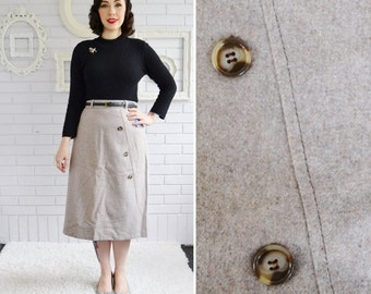"""Vintage Light Grey-Tan Skirt with Buttons and Original Tags Size Medium or Large 30"""" Waist"""