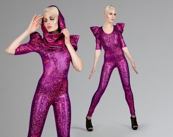 Signature Catsuit in Pink Hologram, Holographic Jumpsuit, Dance Stage Wear, Music Video, Burning Man, Aerial Silks, by LENA QUIST