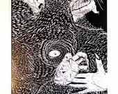 Werewolf Black and White Print
