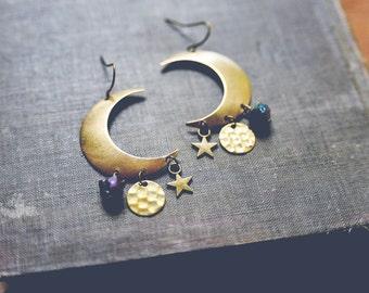 night sky. bohemian moon, star and rainbow crystal earrings
