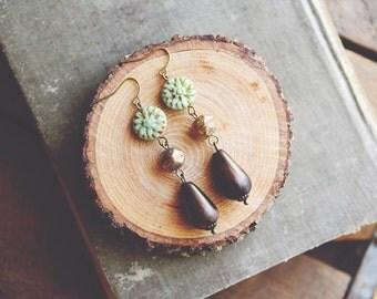 earthy dahlia earrings.