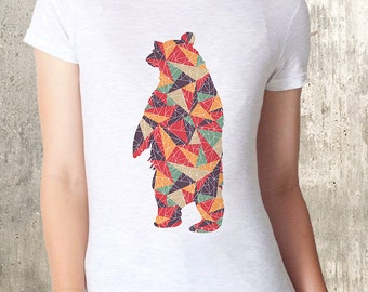Colorful Bear and Triangles Women's T-Shirt - American Apparel - Women's Small Through XL Available