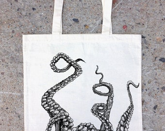 Octopus Tentacles Tote Bag - Cotton Canvas Tote - Screen Printed Tote Bag