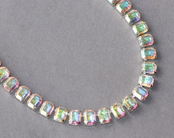 RARE Swarovski Crystal AB Tennis Necklace,Vintage Rhinestone Tennis Necklace,Northern Lights Crystal Aurora Borealis,Pastel Rainbow,Unique
