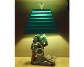 LAYAWAY PAYMENT #2 RESERVED--Kitschy Polynesian / Hawaiian Hula Girl Turquoise/Blue Chalkware Lamp with original Venetian Shade
