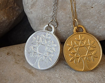 Tree-of-Life Necklace, Tree-of-Life Pendant, Silver Gold Family Tree Charm, Star of David Tree-of-Life Coin Necklace, Arbol de la Vida