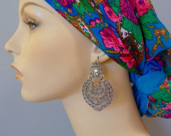 """Mexican Oaxacan Silver filagree LARGE earrings arracada crescent pearl Frida Kahlo style large drop  2  5/8"""""""