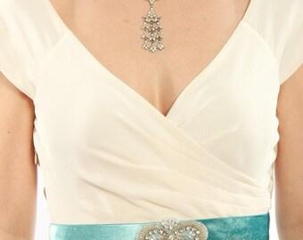 Teal Velvet Wedding Belt W/ Art Deco Pearls & Stones - Bridesmaid Handmade Wedding Accessory Blue Turquoise Handcrafted Sash 1000188