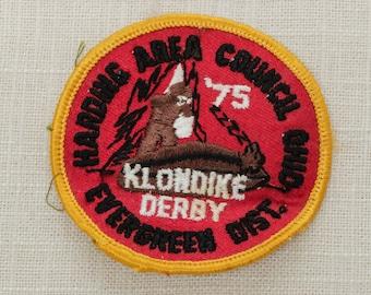 Vintage 1975 Patch   Sew On Boy Scouts of America 1975 Klondike Derby   Harding Area Council   Evergreen District Ohio   Sleeping Bear BSA