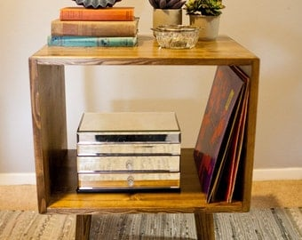 Mid Century Record Stand Storage Table