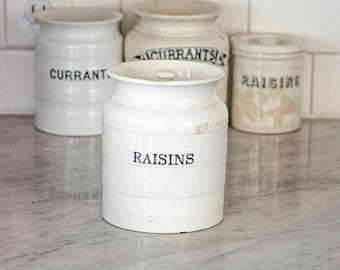 Antique English Ironstone Raisins Canister, Jar, Banded, Black Transferware