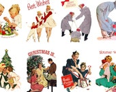 """Large Stickers (each sticker 2.5""""x3.5"""", pack 8 stickers) Scrapbooking Craft Vintage # Small Families FLONZ 304"""