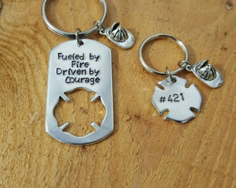 Firefighter Keychain Set Hand Stamped and Personalized For You Fueled By Fire