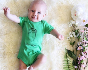 I Will Be Mighty Acorn Baby Onesie - Grass Green