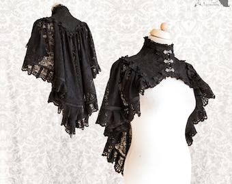 Black capelet, Victorian gothic shrug, Steampunk, Vespertilio, Somnia Romantica, size small, see item details for measurements