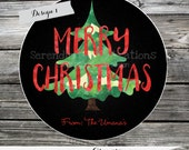 Set of 12 Personalized Favor Tags or Stickers -Christmas -Holiday -Gift Tags -Labels -Watercolor -Christmas Tree Thank you tags Personalized