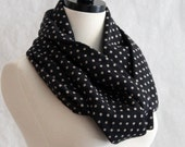 Infinity Scarf Black and Beige Polka Dot