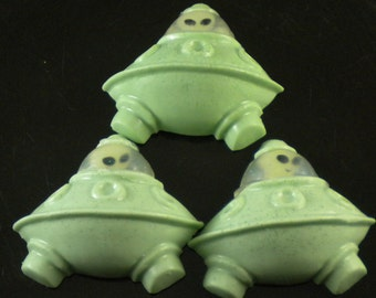 Spaceship Soap with Glow-in-the-Dark Alien Toy scented with Monkey Farts- Handcrafted Melt and Pour Soap Creation