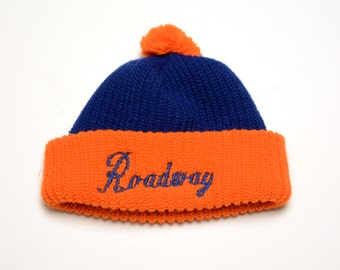 vintage Roadway Trucking ski cap knit hat winter hat trucker beanie orange blue knit hat 80s 1980 vintage hat