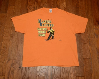 vintage 90s Master Baiters Catch More Fish t-shirt novelty t-shirt crass adult risque gag gift 2XL XXL extra large oversize