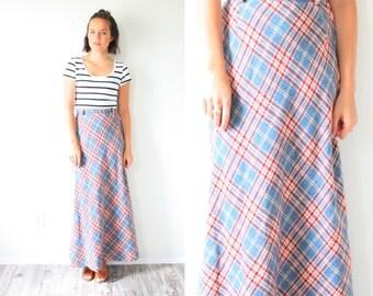 Vintage classic maxi plaid skirt // blue red long boho skirt // long checkered skirt // maxi skirt // XSmall christmas skirt // boho small