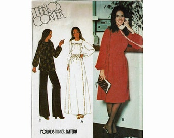 Marlos Corner Maxi Dress Peasant Top and Pants Size 40 Bust 44 1970s Uncut Sewing Pattern Pounds thinner