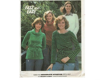 Fast and Easy Knit Tops UNCUT 1970s Sewing Pattern Butterick 5634 sewing pattern for knits top size 12 Bust 34 from 1970s