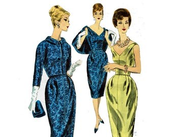 Vogue Couturier Design 199 Bell Shaped Dress V neckline with waist jacket Size 12 Bust 32 1959-1960 50s-60s Vintage Sewing Pattern
