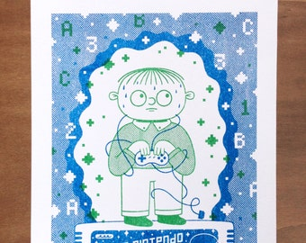 Oh, Ralph! - Ralph Wiggum Super Nintendo Chalmers A4 Small Simpsons Risograph Print