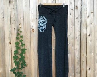 Sugar Skull Pants, Yoga Pants, Lounge Pants, S,M,L,XL