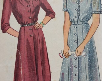 1944 Simplicity Button Front Dress Sewing Pattern 1042, Size 14, Bust 32