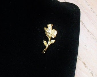 Vintage Brooch Pin Rose Stem signed Taiwan Pale Gold Tone Gift for Her