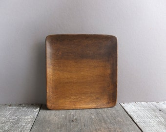 Vintage Square Wood Serving Tray / Mid Century Wood Tray