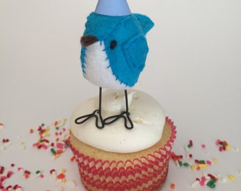 Mini Blue Birthday Bird with Party Hat - Made to Order! Cupcake Topper, Birthday Gift & Party Decor!