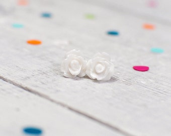 White Rose Earrings | Nickel Free Studs | Snow White