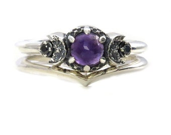 Purple Amethyst and Black Diamond Moon Ring Engagement Set in Sterling Silver