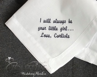 Gift For Dad from Daughter Personalized Handkerchief for Father of the Bride Gift Wedding Handkerchief in Classic Linen Fabric HML400