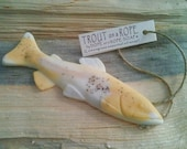 Trout Soap on a Rope  - Lemongrass Essential Oil - Fisherman Gifts - More Colors Available - Wedding Favors - Hemp Soap