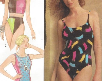 80s Cherokee Womens Swimsuits One and Two Piece Swimsuits Simplicity Sewing Pattern 9210 Size 12 14 16 Bust 34 36 38 FF Stretch Knits Only