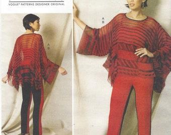 Zandra Rhodes Womens Tunic and Slim Pants Vogue Sewing Pattern V1491 Size 4 6 8 10 12 14 Bust 29 1/2 to 36 UnCut Vogue Designer Original