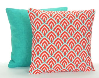 Aqua Red Outdoor Pillow COVERS Beach Throw Cushion Decorative Red Turquoise  Cottage Patio Pillow Two Couch