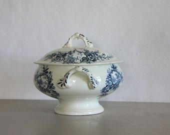 Antique French Transferware, Blue Transferware  Bowl 1878 Earthenware Ironstone 1878